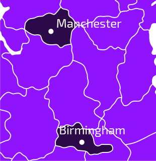 Birmingham and Manchester map